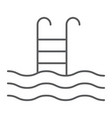 Swimming pool thin line icon diving
