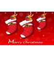 Three red christmas stockings vector image