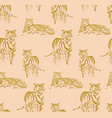 tigers outline pattern hand-drawn doodle animal vector image vector image