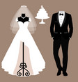 wedding card with the clothes of the bride and vector image vector image