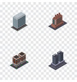 isometric architecture set of house office vector image