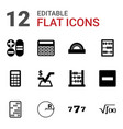 12 math icons vector image vector image