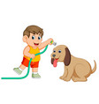 a little boy will clean his big brown dog vector image vector image