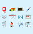 ambulance icons medicine health emergency vector image