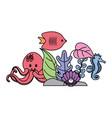 aquarium fish seahorse octopus plants vector image vector image