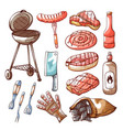 barbecue and cooking on grill tool set vector image