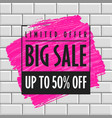 big sale banner template brick wall vector image vector image