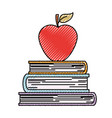 books stacked with apple on top in colored crayon vector image vector image