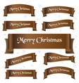 brown shiny color merry christmas slogan curved vector image vector image