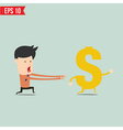Business man trying to catch money - - EPS1 vector image vector image