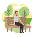 businessman sitting in park chair with landscape vector image vector image