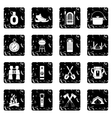 Camping icons set grunge style vector image vector image