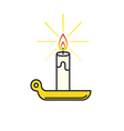 Candle Burning thin line icon vector image