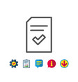 checked document line icon file sign vector image vector image