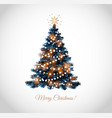 christmas tree on white background christmas card vector image vector image