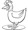coloring page of funny farm hen vector image vector image