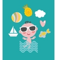 Cool baby on vacation vector image