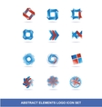 Corporate business blue red logo elements set vector image vector image