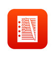 document with plan and pen icon digital red vector image vector image