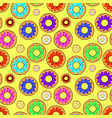 donut seamless pattern with different topping on vector image