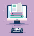 education online computer ebooks and keyboard vector image