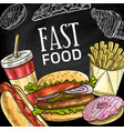 fast food burgers sandwiches and sweets poster vector image vector image