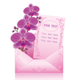 Flower orchid in envelope on white background vector | Price: 1 Credit (USD $1)