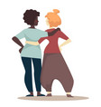 girlfriends hugging and standing in casual clothes vector image