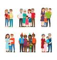 group portraits happy families set vector image vector image
