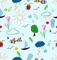 Hand draw summer holiday seamless pattern vector image
