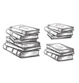 hand drawn sketch stack books isolated on white vector image
