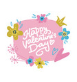 hand drawn valentine card with flowers and vector image