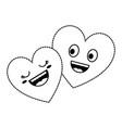 hearts couple kawaii characters vector image vector image