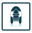 icon of rubber boat on gray background round vector image vector image