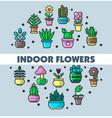 indoor flowers and house plants in flowerpots vector image vector image