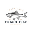 logos on a fishing theme fresh fish vector image vector image