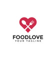 love with spoon and fork food restaurant logo vector image vector image