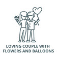 loving couple with flowers and balloons vector image