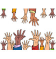 many hands reach out to each other vector image