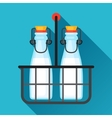 milk bottles and wire carrier in flat vector image vector image