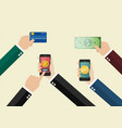 online payment and cashless society concept vector image vector image