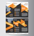 Orange black trifold Leaflet Brochure leaflet vector image vector image