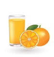orange juice with a fresh oranges beside the glass vector image vector image