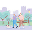 people with medical face mask women walking vector image vector image