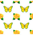 roses and butterflies embroidery seamless pattern vector image vector image