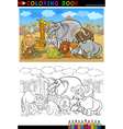 safari wild animals cartoon for coloring book vector image vector image