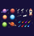 set colorful space icon planet spaceship vector image vector image