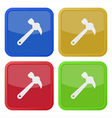 set of four square icons with claw hammer vector image vector image