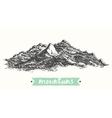 Sketch mountains engraving drawn vector image vector image