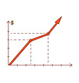 sketch raising graph chart chart icon vector image vector image